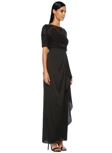 Aidan Mattox İşlemeli Dantelli Maksi Abiye Elbise Siyah